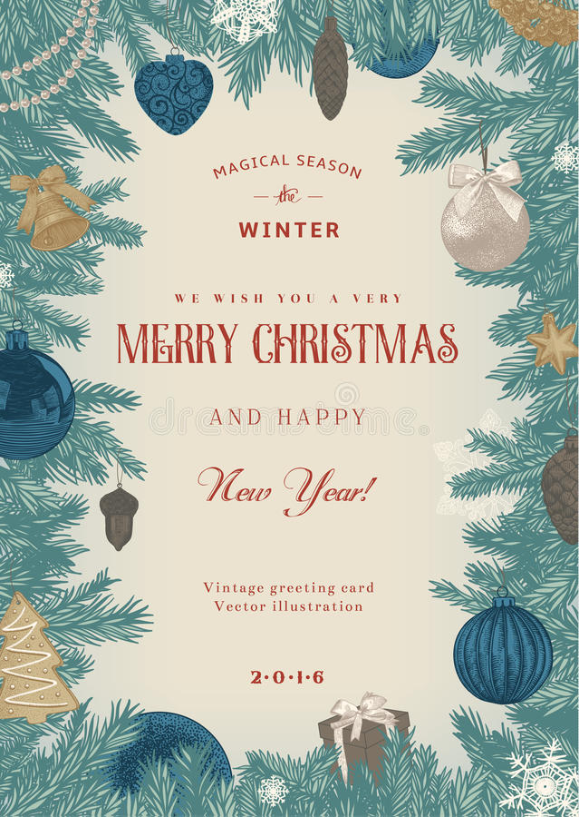 Quadro do Natal com os brinquedos e as decorações azuis e bege ilustração royalty free