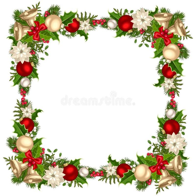 Quadro do Natal com ramos, bolas, sinos, azevinho e poinsétia do abeto Ilustração do vetor ilustração stock