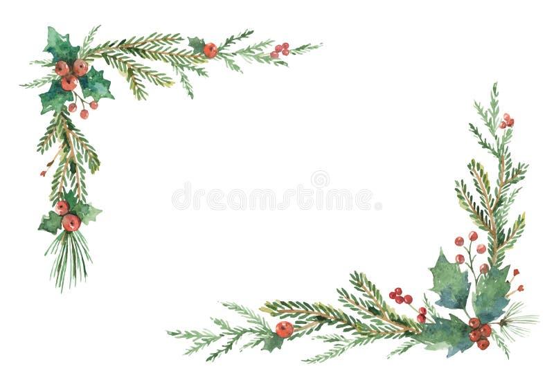 Quadro do Natal do vetor da aquarela com ramos e lugar do abeto para o texto ilustração stock