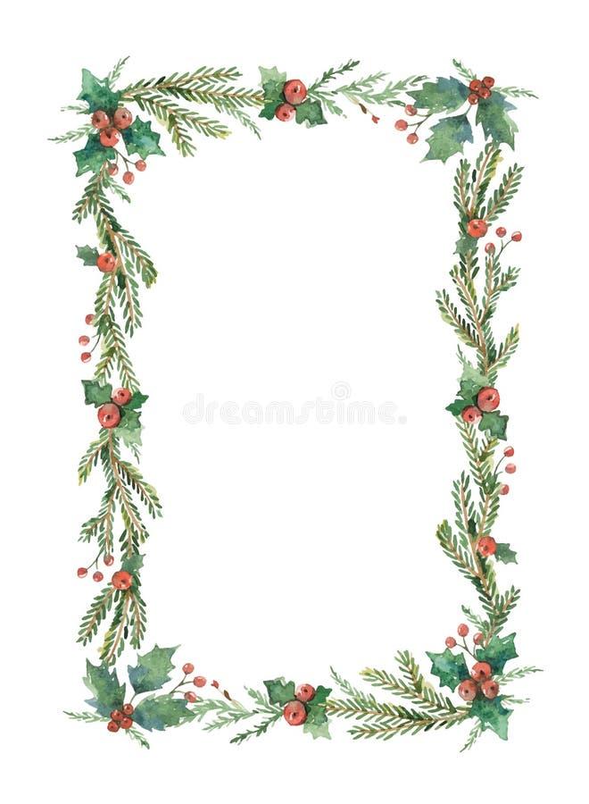 Quadro do Natal do vetor da aquarela com ramos e lugar do abeto para o texto ilustração do vetor
