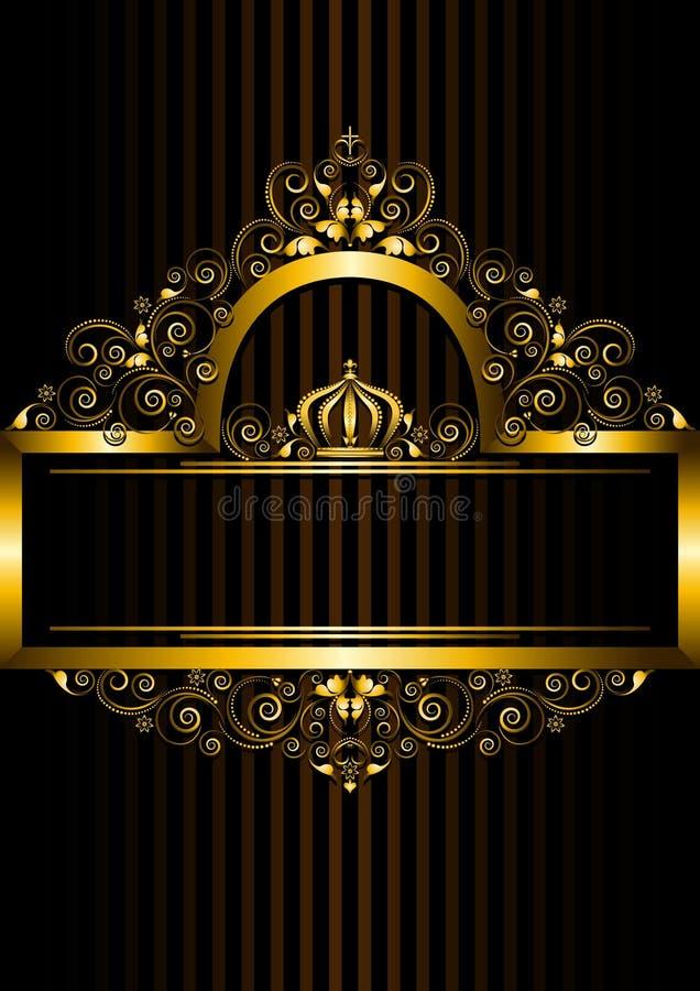 Quadro do ouro com teste padrão floral e coroa ilustração do vetor