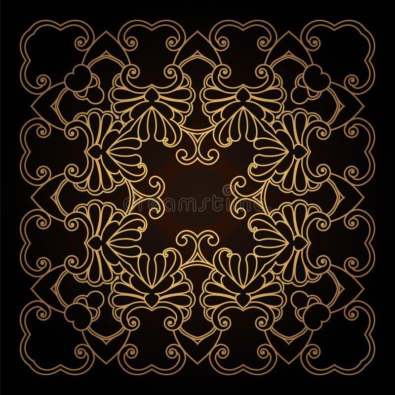 Quadro do ouro do molde no vetor para o corte do laser Os ornamento decorativos originais para cart?es, convites do casamento, sa ilustração stock