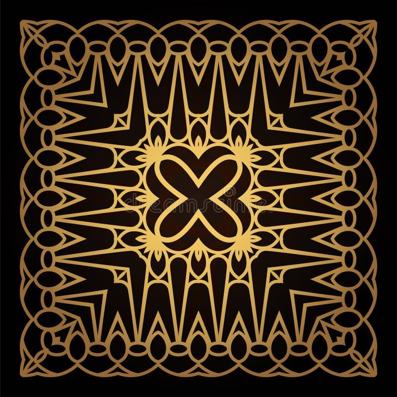 Quadro do ouro do molde no vetor para o corte do laser Os ornamento decorativos originais para cart?es, convites do casamento, sa ilustração do vetor