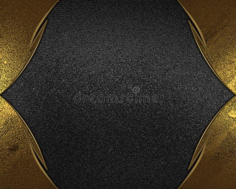 Quadro do ouro na textura preta Elemento para o projeto Molde para o projeto copie o espaço para o folheto do anúncio ou o convit ilustração royalty free