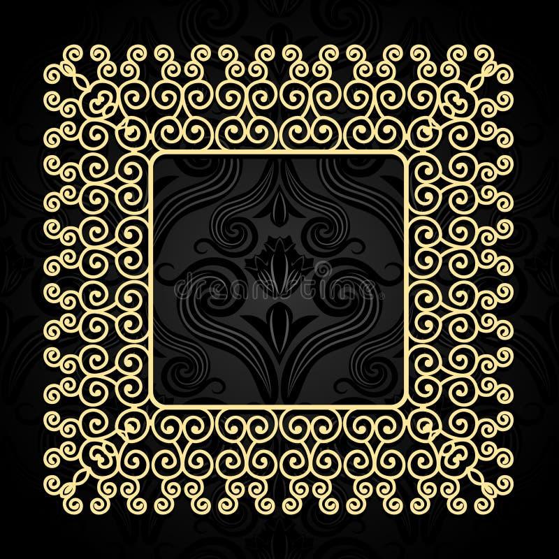 Quadro do ouro do vintage com redemoinhos em um fundo escuro com um teste padrão ilustração stock