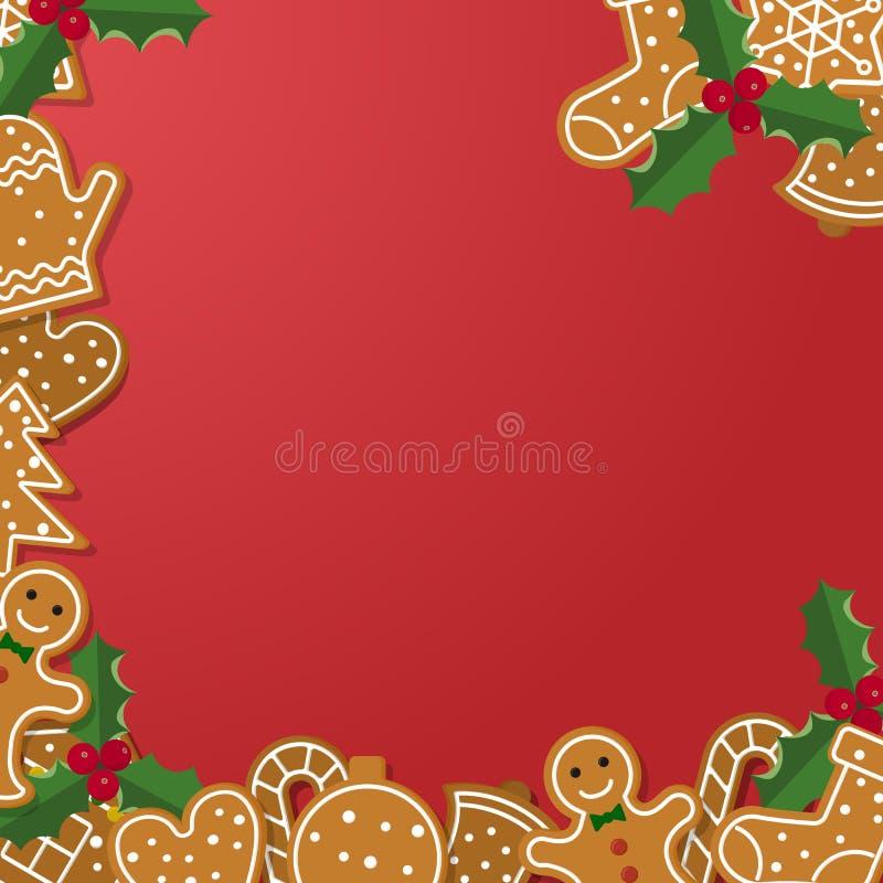Quadro do pão-de-espécie do Natal ilustração do vetor
