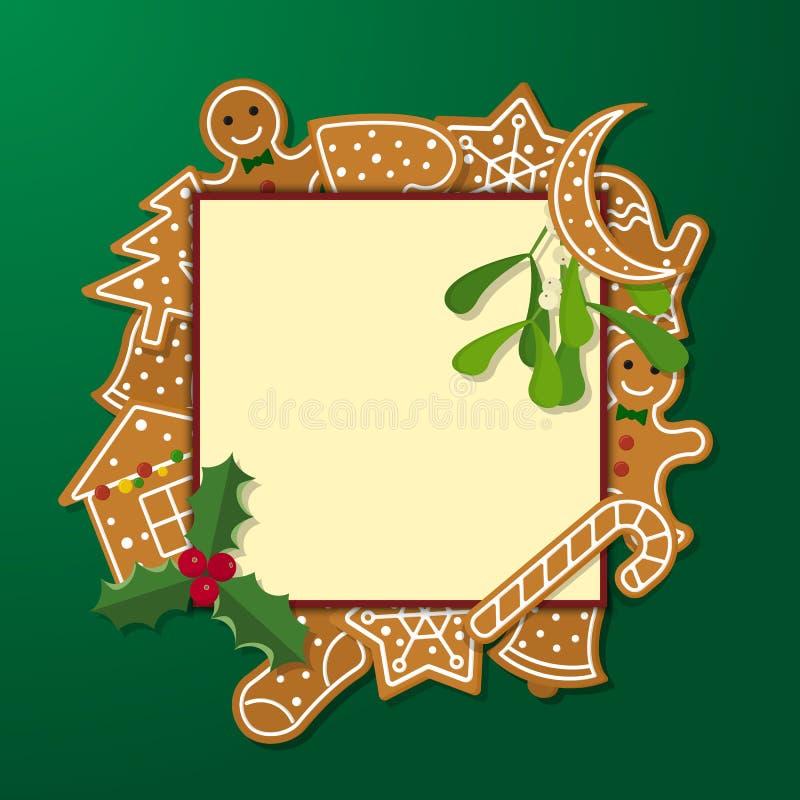 Quadro do pão-de-espécie do Natal ilustração royalty free
