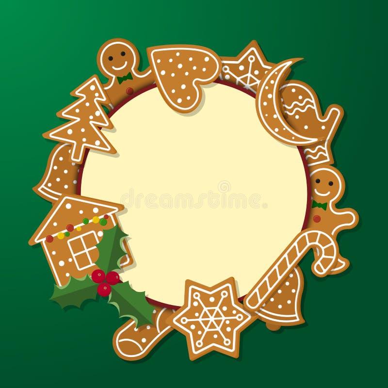 Quadro do pão-de-espécie do Natal ilustração stock