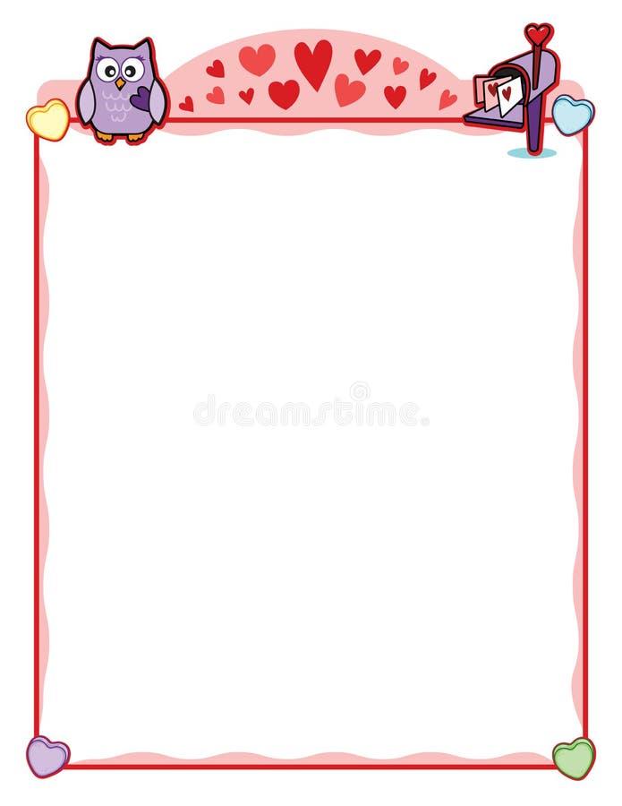Quadro do partido do Valentim com a caixa postal da coruja e da carta de amor ilustração royalty free