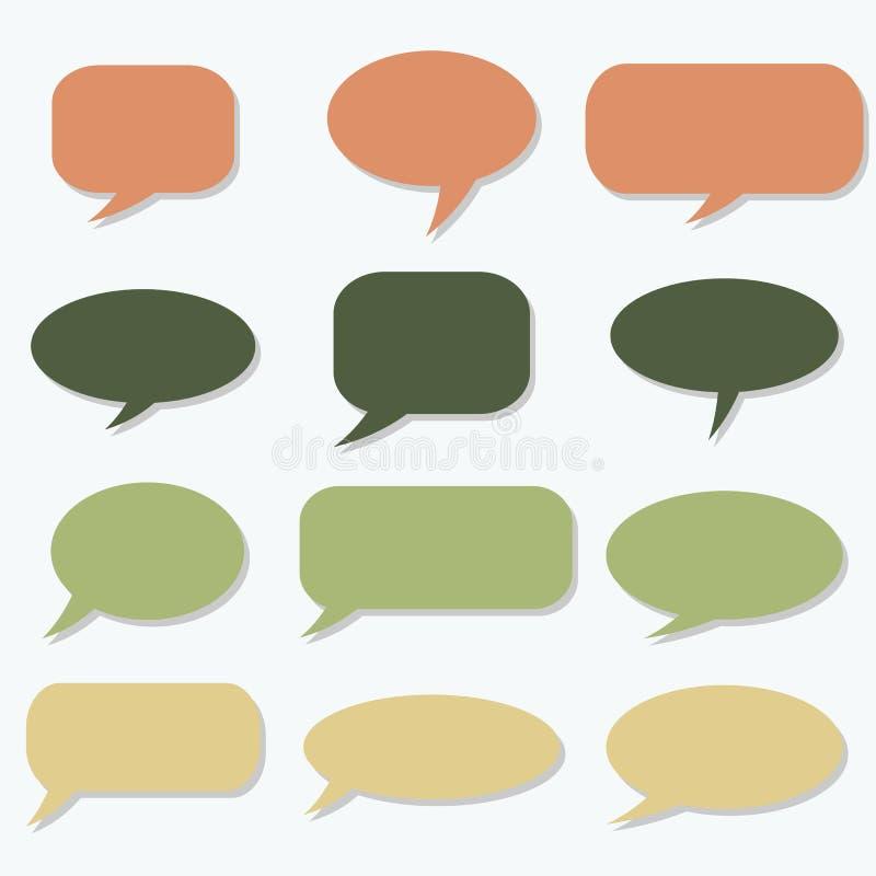 Quadro do pensamento Bolha do discurso Nuvem ideal Balão da conversa Citações b ilustração do vetor