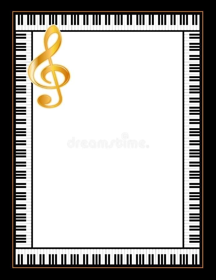 Quadro do piano, Clef jpg+eps do ouro ilustração do vetor