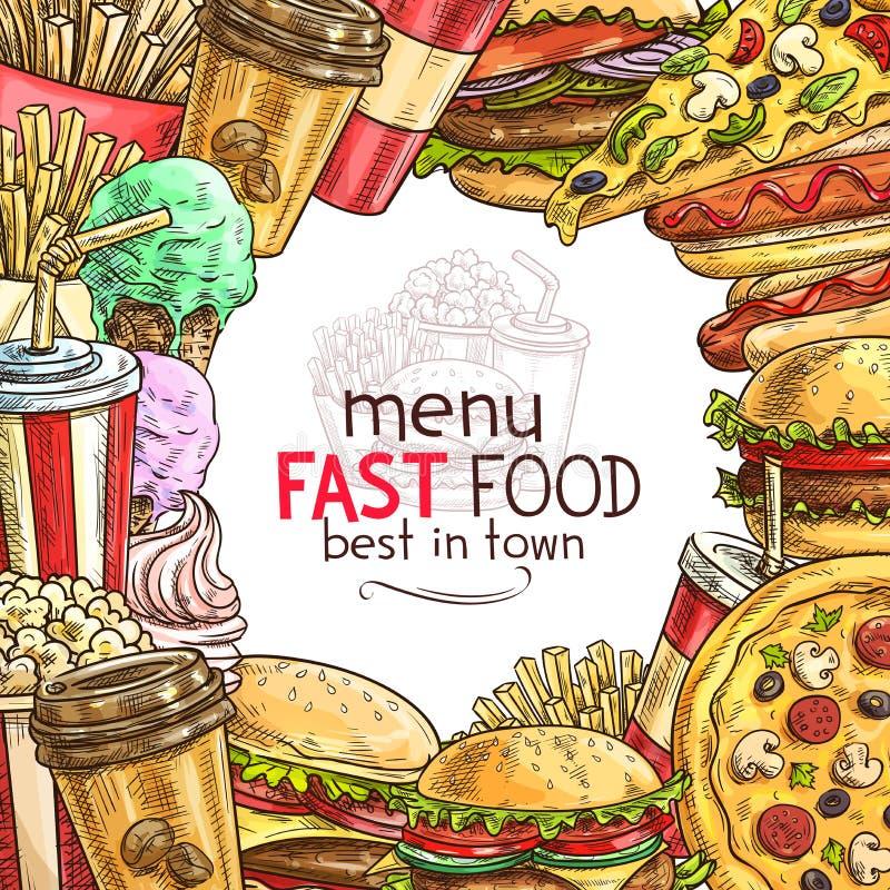 Quadro do prato do almoço do fast food para o menu do restaurante ilustração do vetor