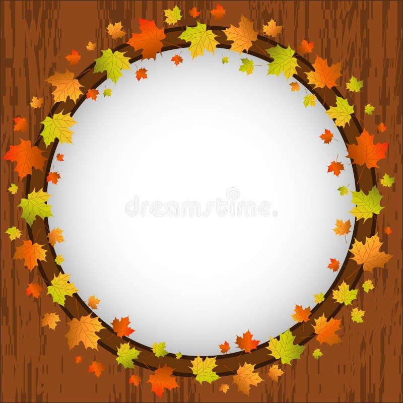 Quadro do projeto do outono, grinalda das folhas de bordo coloridas, janela e folhas de outono sobre o fundo de madeira envelheci ilustração do vetor