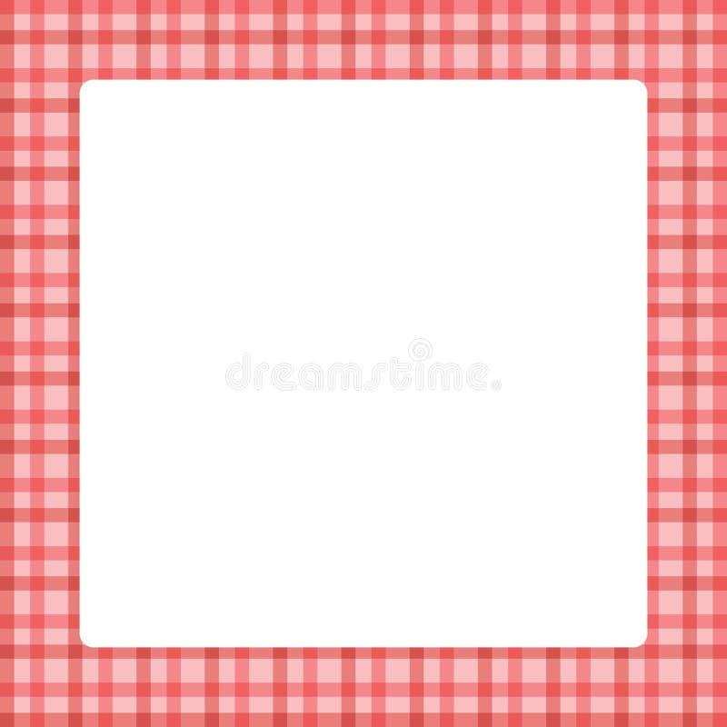 Quadro do quadrado branco no fundo macio pastel na moda da cor vermelha do teste padrão da manta, quadro quadrado para a bandeira ilustração do vetor