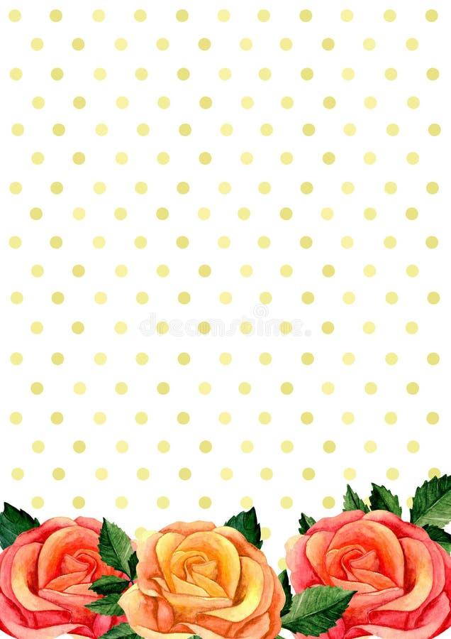 Quadro do ramalhete das rosas Arranjo de flores do Watercolour ilustração do vetor