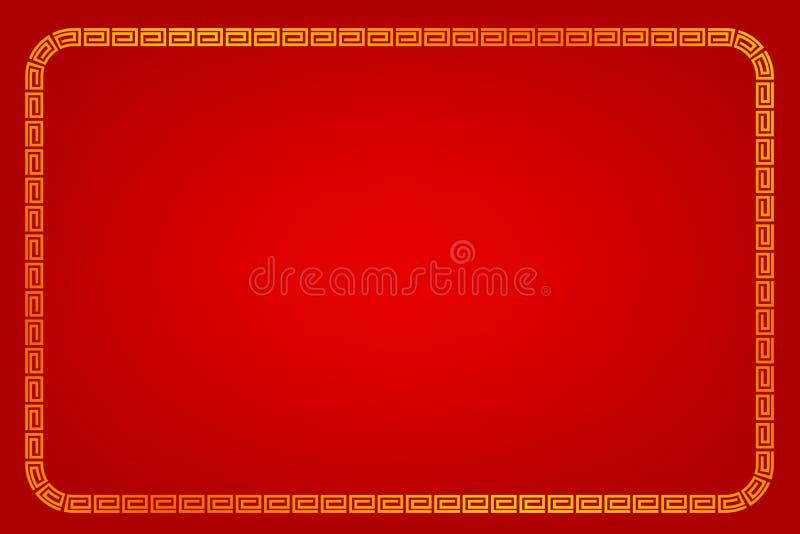 Quadro do retângulo, estilo dourados da porcelana, para o certificado, o cartaz, o contexto, e o outro, fundo gradual vermelho ilustração stock