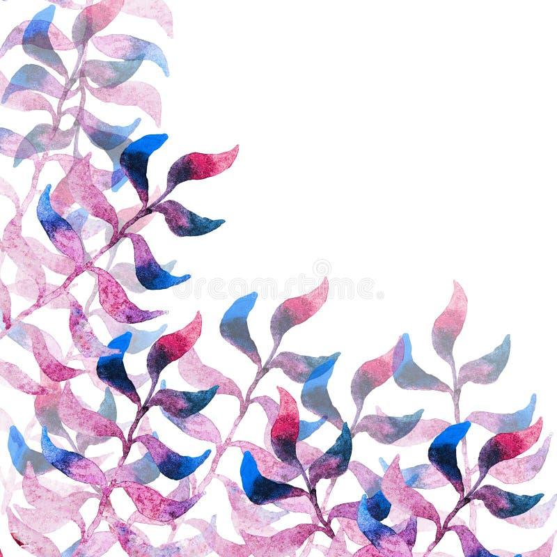 Quadro do rosa e das folhas do azul ilustração stock