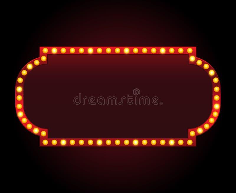 Quadro do sinal do teatro do vetor do retângulo com luzes ilustração do vetor