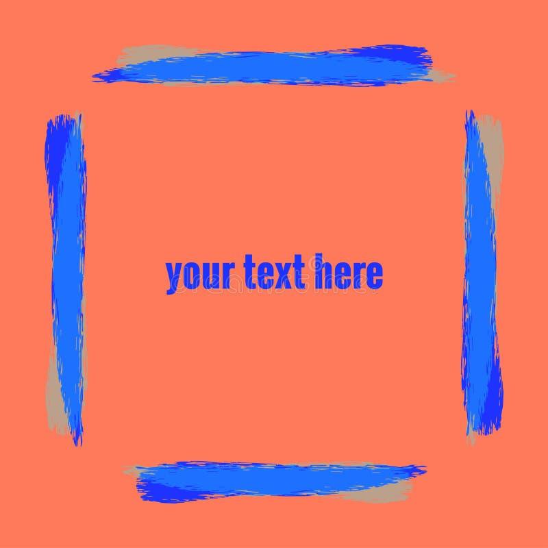Quadro do ultramarine da cor das listras da escova da aquarela na cor do coral do fundo Seu texto aqui Ilustra??o do vetor para o ilustração stock