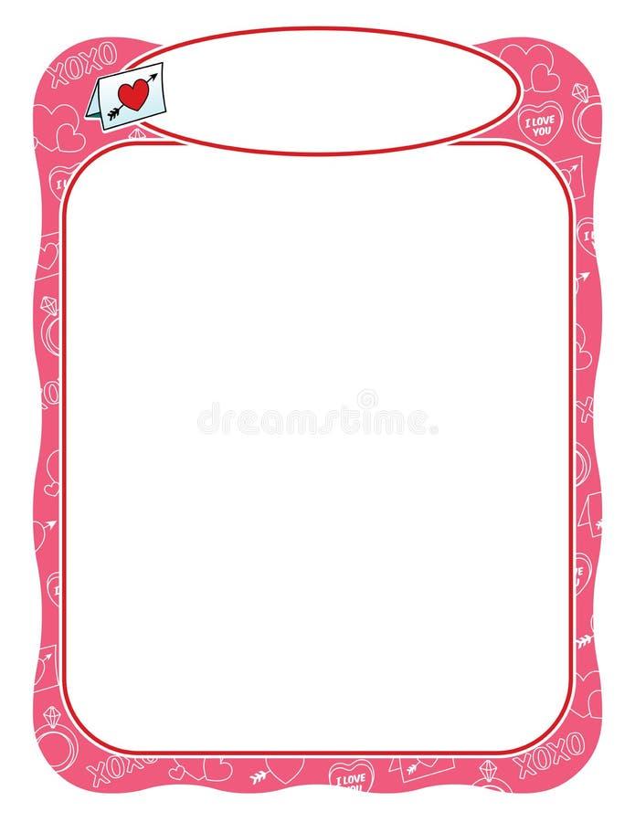 Quadro do Valentim com carta de amor, cor-de-rosa e ondulado ilustração royalty free
