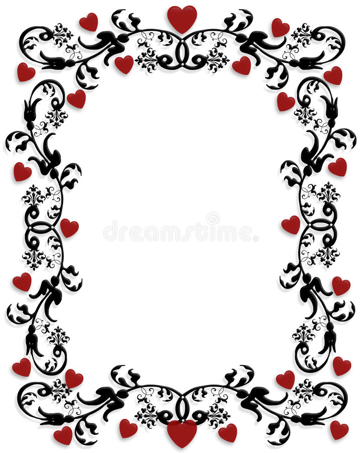Quadro do Valentim ou beira 3D ilustração stock