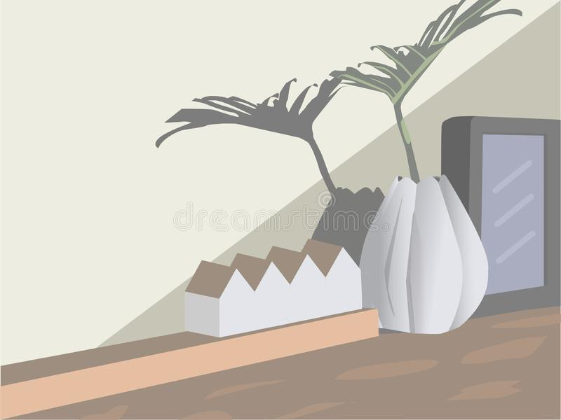 Quadro do vaso, o branco e o preto Uma casa modelo colocada na tabela imagens de stock