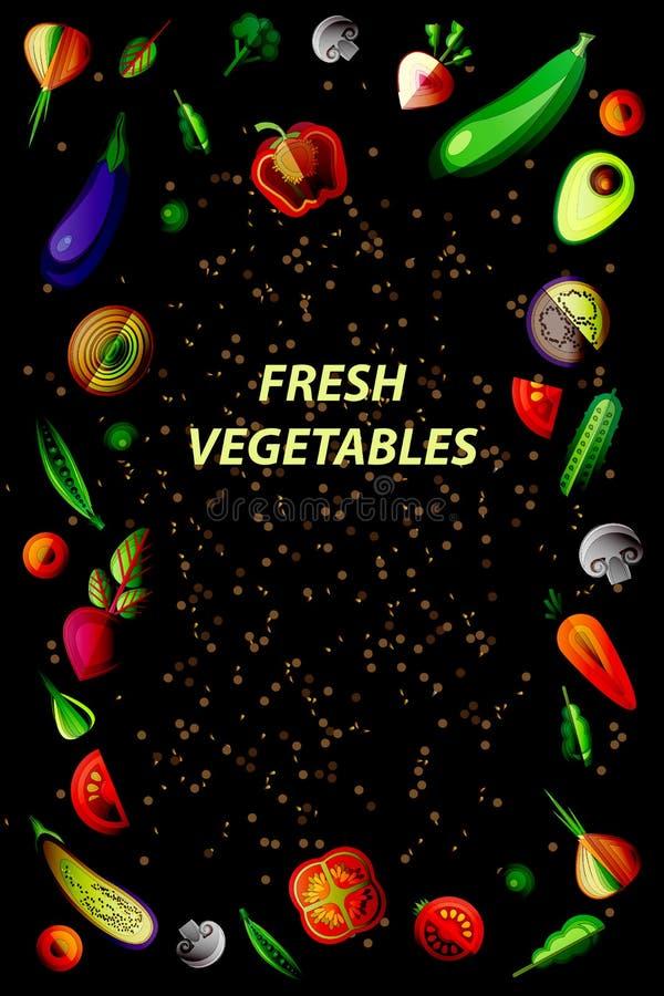 Quadro do vegetariano do vetor em um fundo preto ilustração do vetor