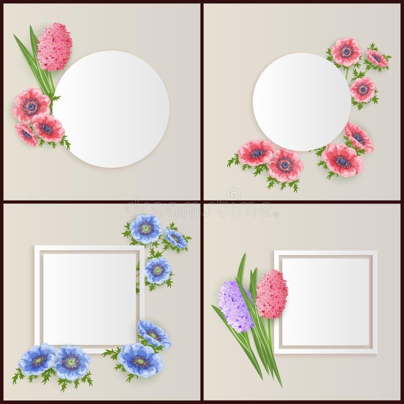 Quadro do vetor com flores ilustração stock