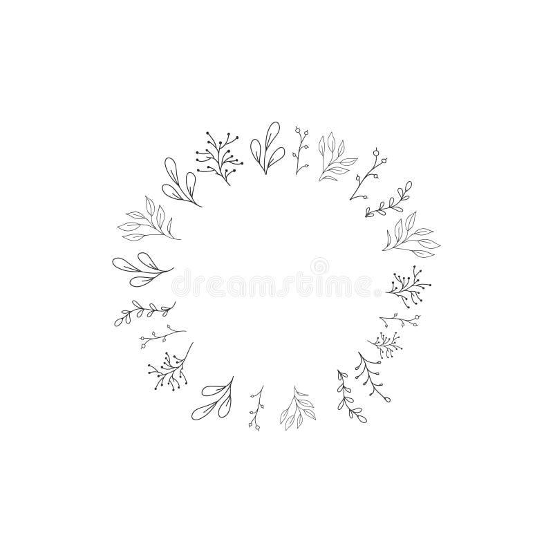 Quadro do vetor com flores Desenho da garatuja Casamento, decoração do outono Elemento tirado m?o para o projeto ilustração do vetor