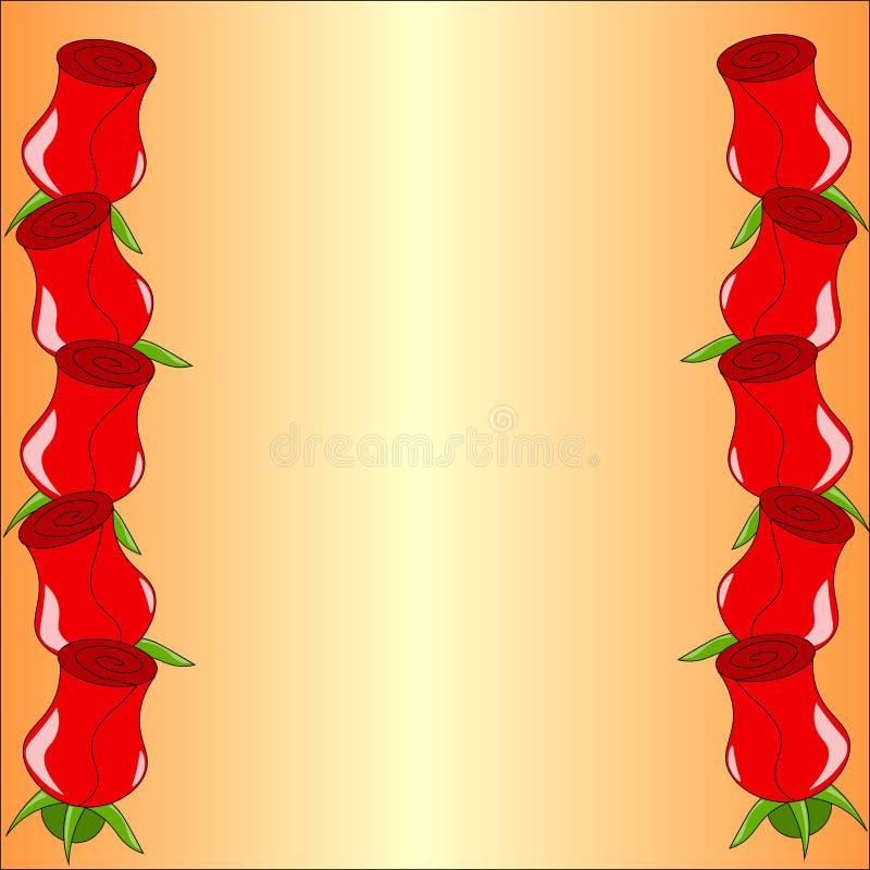 Quadro do vetor com rosas ilustração do vetor