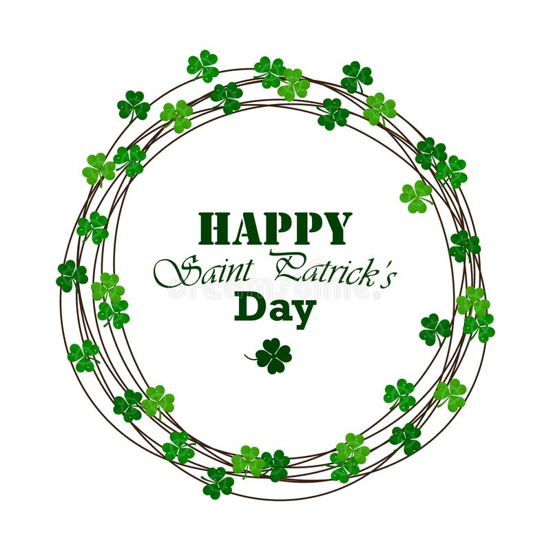 Quadro do vetor do dia do ` s de St Patrick com trevo verde ilustração stock