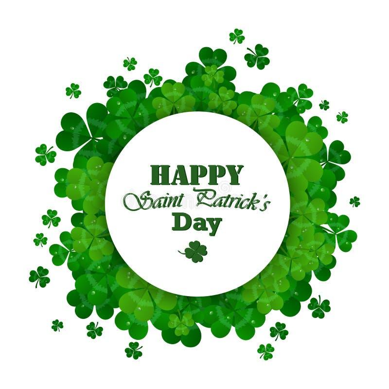 Quadro do vetor do dia do ` s de St Patrick com trevo verde ilustração royalty free