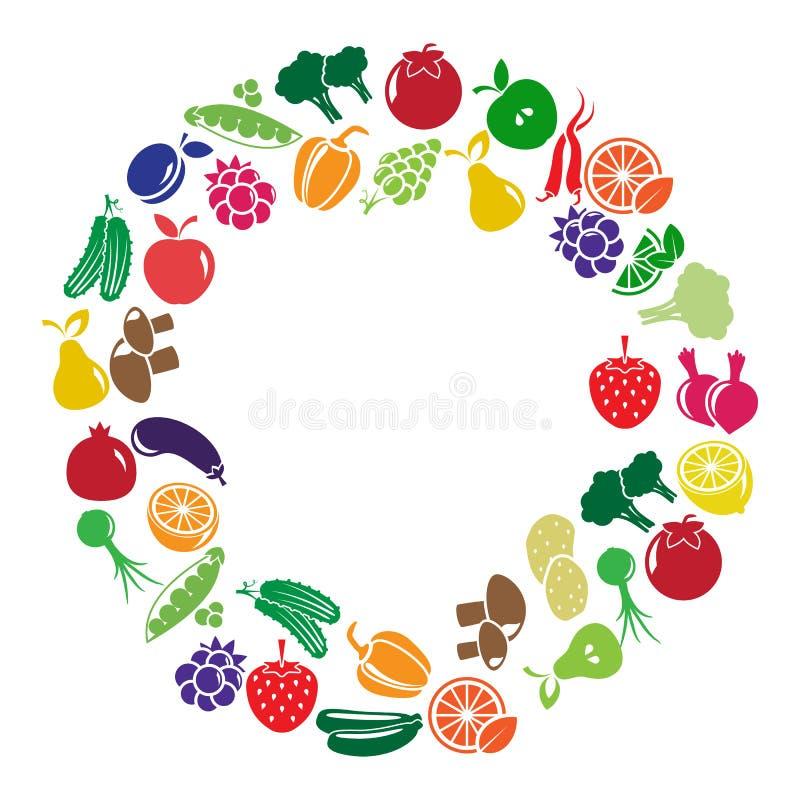 Quadro do vetor feito de frutas e legumes coloridas ilustração do vetor