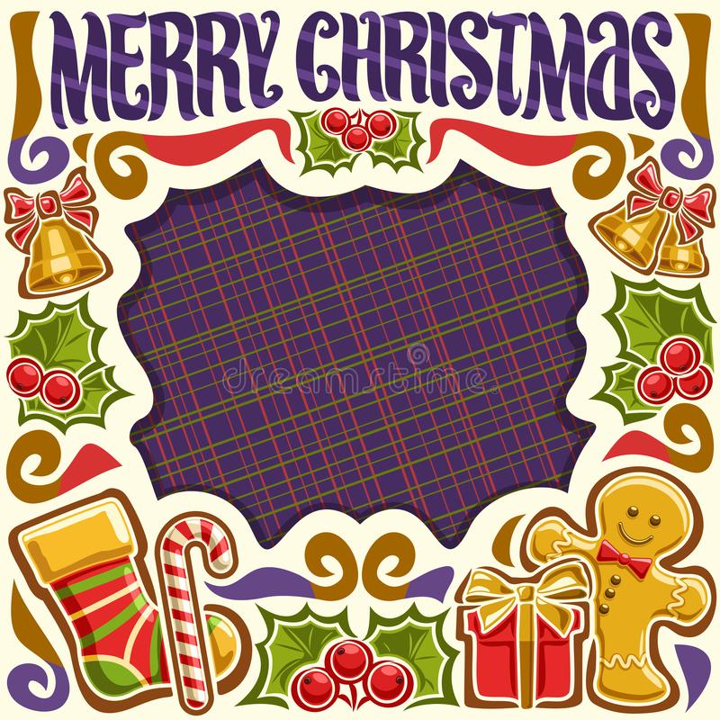 Quadro do vetor para o Feliz Natal ilustração stock