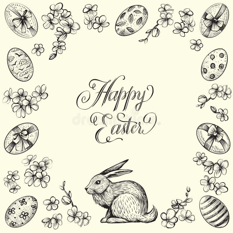 Quadro do vetor do vintage da Páscoa Entregue ilustrações tiradas do coelho, dos ovos, e das flores Caligrafia feliz da Páscoa ilustração do vetor