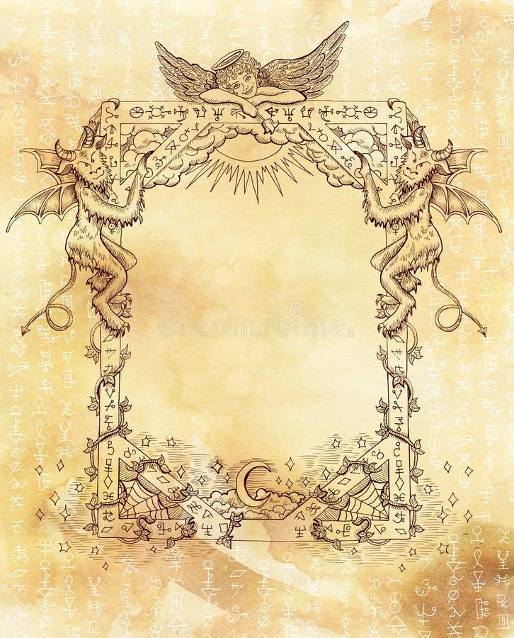 Quadro do vintage com anjo, demônios e símbolos místicos brancos ilustração do vetor