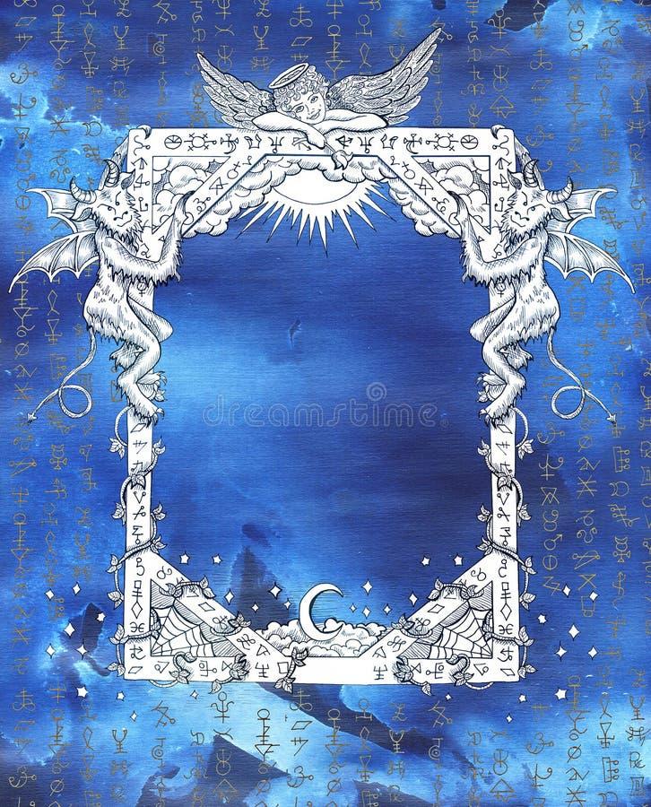 Quadro do vintage com anjo, demônios e símbolos místicos no azul ilustração royalty free
