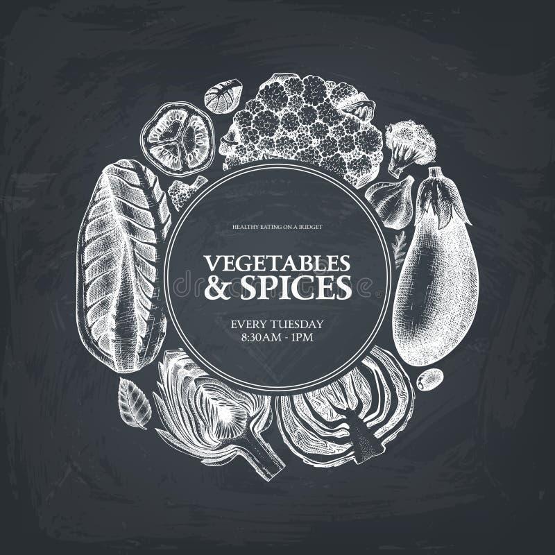 Quadro do vintage com esboços tirados mão dos vegetais e das especiarias Ilustração sazonal dos produtos agrícolas Molde saudável ilustração stock