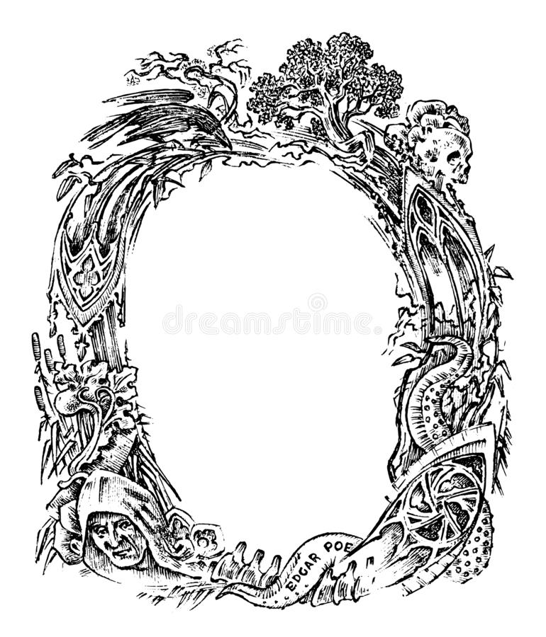 Quadro do vintage com flores e as criaturas míticos Projeto vitoriano antigo estilo gótico fantástico Mão desenhada ilustração royalty free