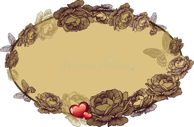 Quadro do vintage com rosas e corações, ilustração do vetor ilustração do vetor