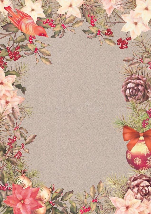 Quadro do vintage do Natal ilustração stock