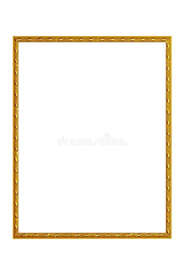 Quadro do vintage do ouro isolado no fundo branco imagem de stock