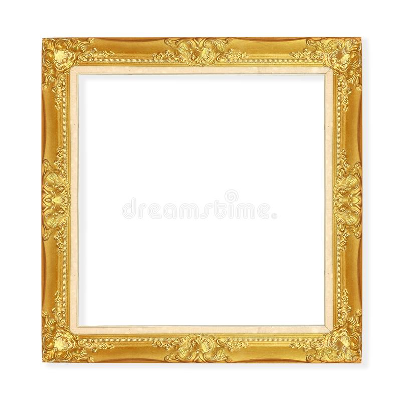 Quadro do vintage do ouro isolado no fundo branco com grampeamento do pa imagens de stock royalty free