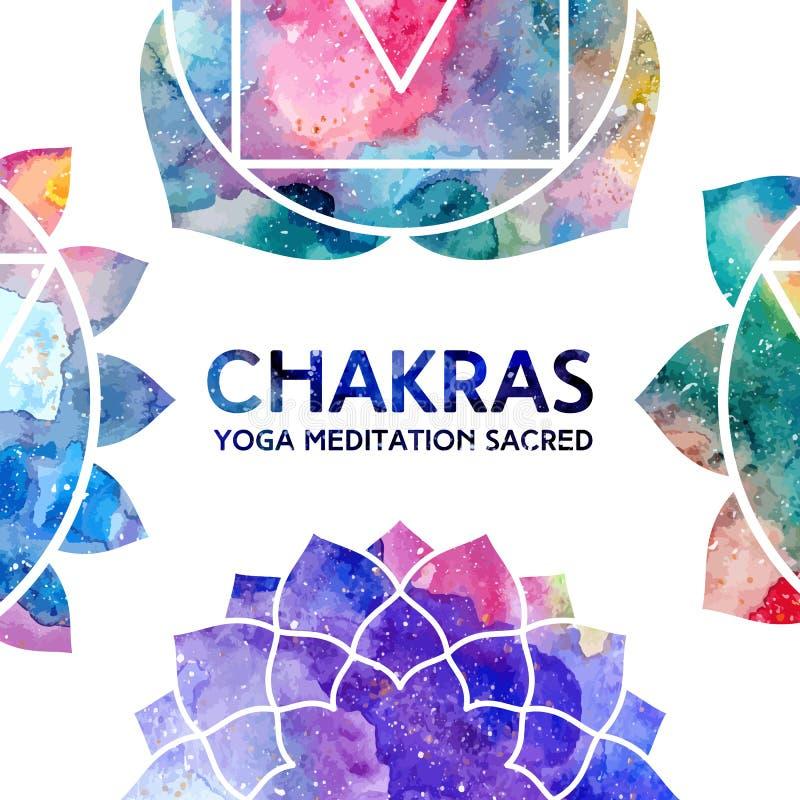 Quadro dos chakras da aquarela ilustração royalty free