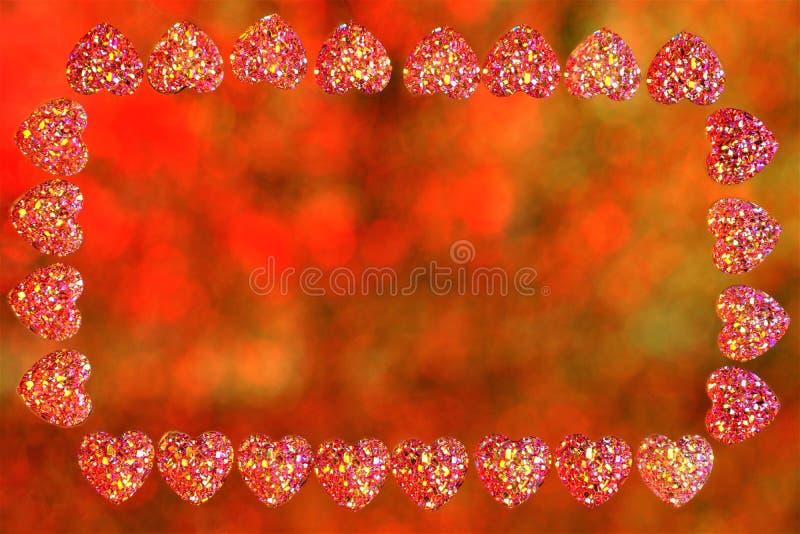 Quadro dos corações do dia de Valentim, bokeh do fundo das luzes Quadro para imagens do feriado ou texto importante, luzes colori fotos de stock