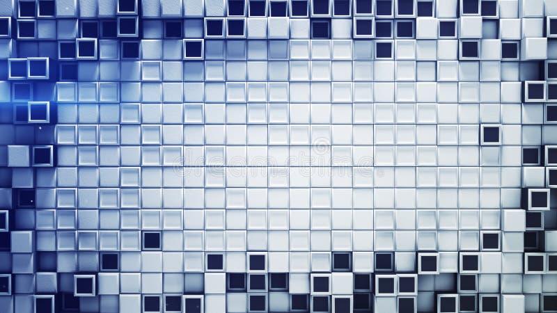 Quadro dos cubos 3D azuis e brancos e do espaço livre ilustração stock