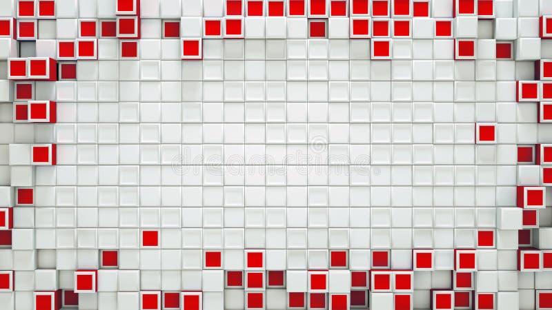 Quadro dos cubos 3D e do fundo vermelhos do sumário do espaço livre ilustração do vetor