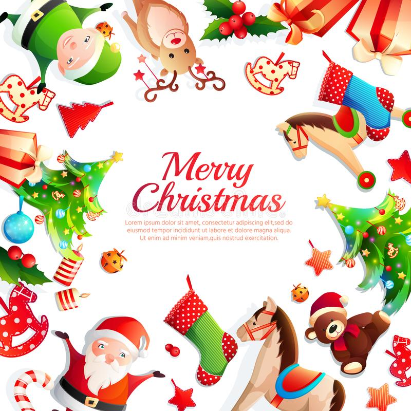 Quadro dos desenhos animados do Feliz Natal ilustração royalty free