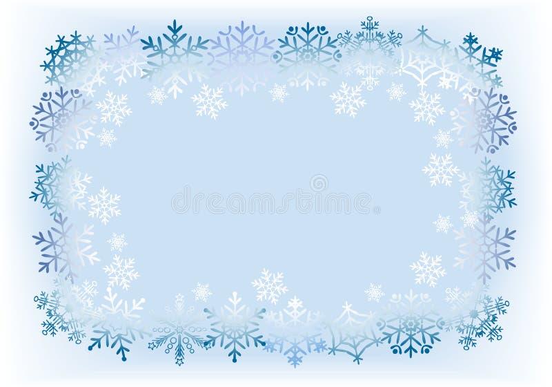Quadro dos flocos de neve na luz - fundo azul. ilustração stock