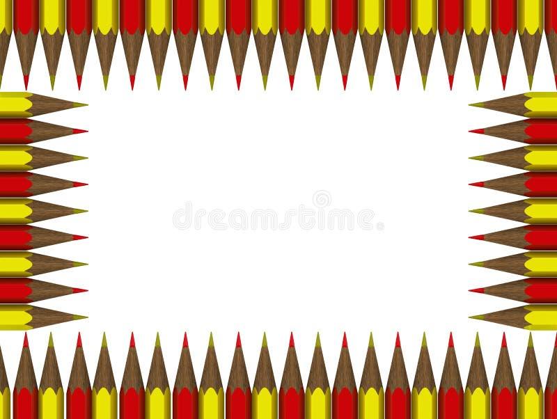 Quadro dos lápis vermelhos e amarelos ilustração stock
